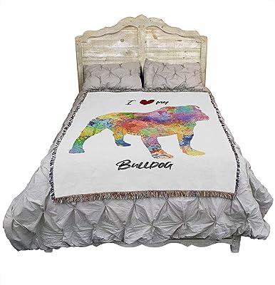 I Love My Bulldog - Paint Splash - Cotton Woven Blanket Throw - Made in The USA (72x54)