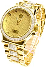 XL 14k Gold Plated Luxury Bling Iced Out Heavy Metal Band Watches WM 8306 G