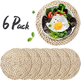 WEVOGTY 6 Pack Woven Placemats,Round Corn Husk Weave Placemat Braided Rattan Tablemats 11.8""