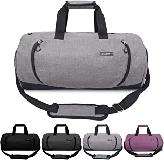 Updated 20'' Sports Gym Bag with Shoes Compartment Wet Pocket Waterproof Travel Duffel Bag for Men and Women (Grey)