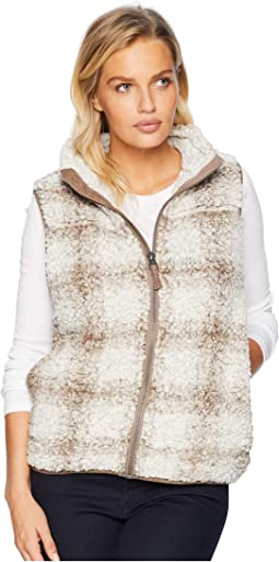 Softest Tip Shearling Shadow Plaid Vest