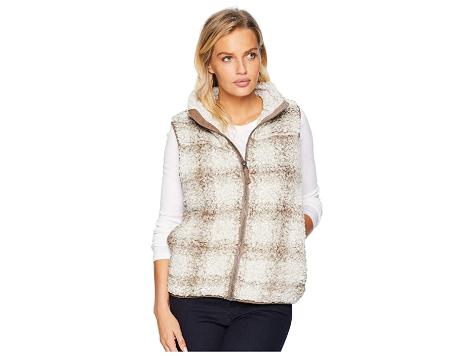 Dylan by True Grit Softest Tip Shearling Shadow Plaid Vest (Brown) Women