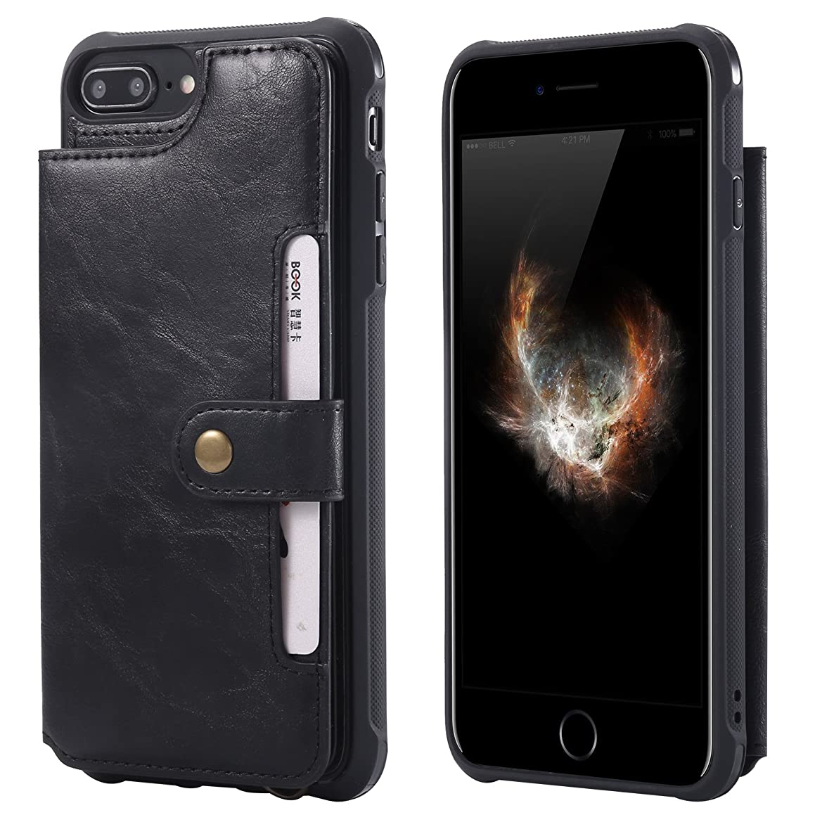 Wallet Case for iPhone 6P 7+ 8 Plus Apple,Card Cash Slot PU Leather Hand Strap Magnetic Snap Protective Cover Durable Shell Kickstand Soft Black Men Women