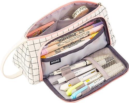 TOYESS Trousse à Crayons Kawaii Portable de Grande Capacité en Toile pour Fille, Imperméable Trousse Scolaire avec Po...