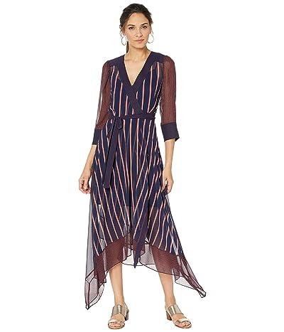BCBGMAXAZRIA Woven Stripe Wrap Dress (Pacific Blue/Valet Stripe) Women