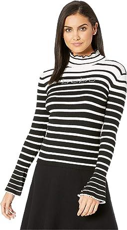 Bell Sleeve Stripe Turtleneck