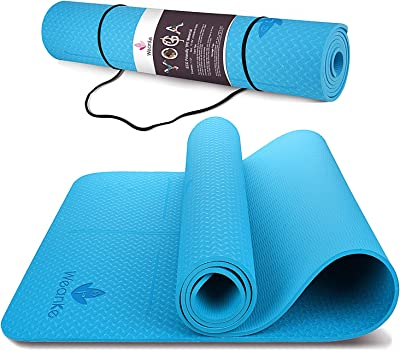 "Weanke Yoga Mat 1/4 inch Thick Non Slip Exercise Mat for Men & Women Eco Friendly TPE Yoga Mats with Carrying Strap for Yoga Pilates Fitness Stretching (72"" L x 24"" W x 1/4 Inch Thick)"