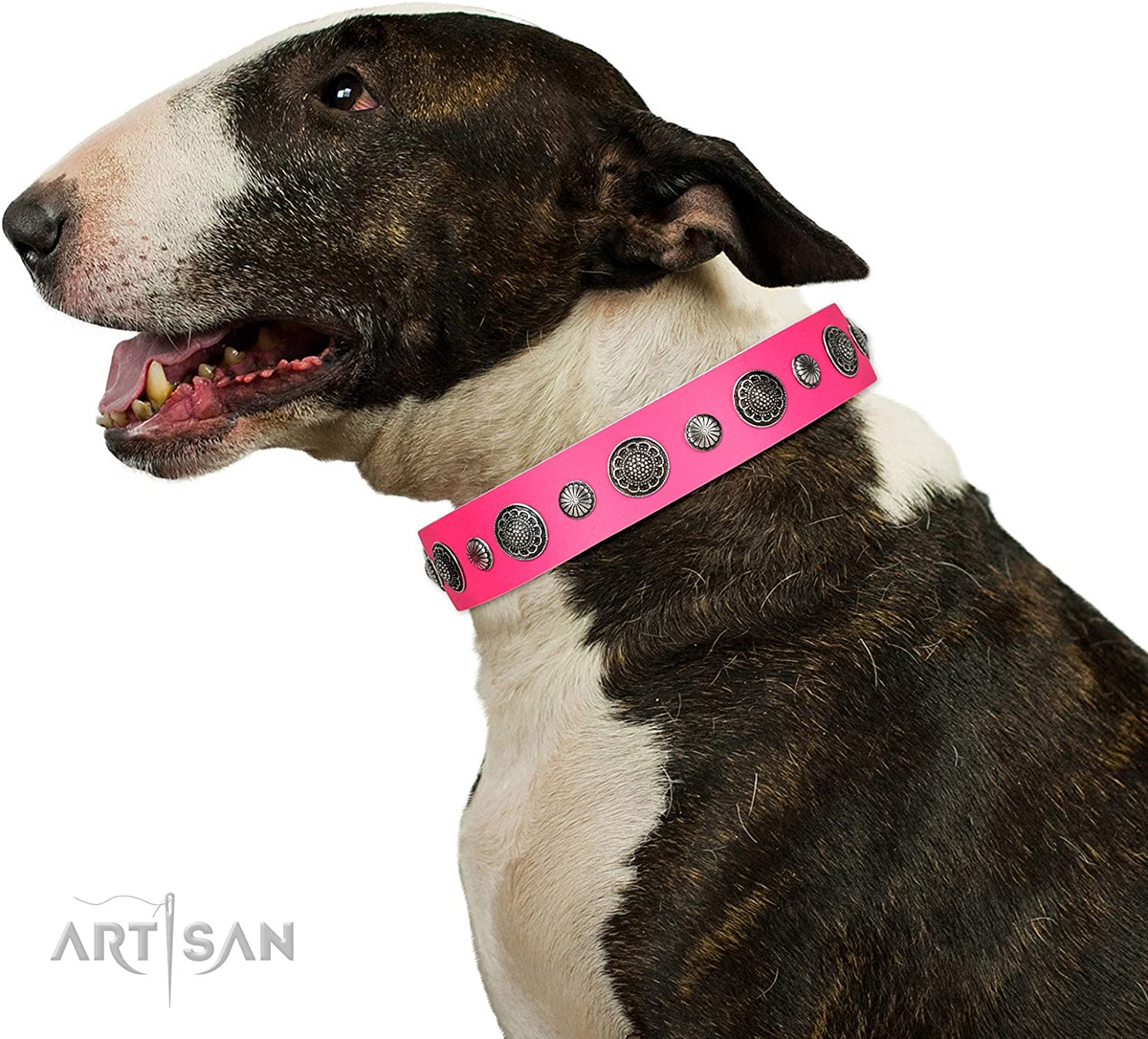 FDT Artisan 16 inch Pink Leather Dog Collar   Vintage Elegance   1 1 2 inch (40 mm) wide  Gift Box Included