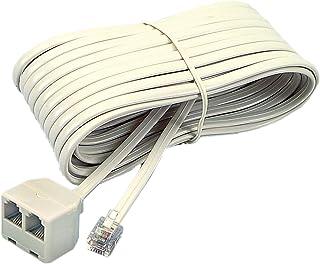 Softalk 04130 Corded Duplex Jack 25-Feet Almond Landline Telephone Accessory