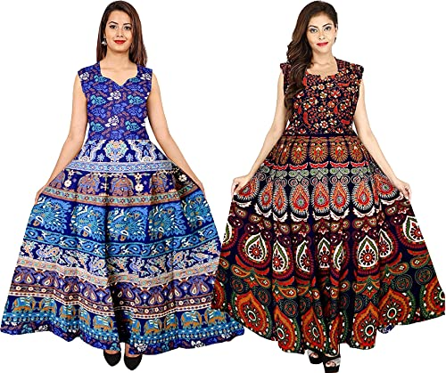 Cotton Women s Cotton Jaipuri Printed Maxi Long Dress Multicolour Free Size Upto 44 XXL Combo 2 Pieces