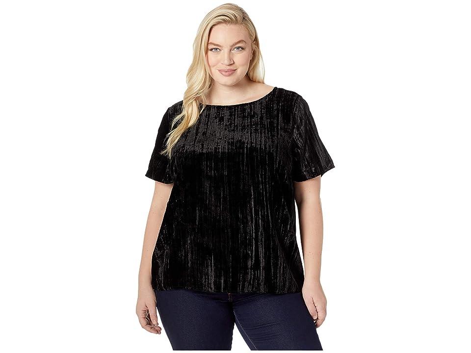 NYDJ Plus Size Plus Size Velvet Woven Tee (Black) Women