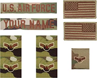 USAF Spice Brown OCP Sew On Name Tape and Insignia Bundle