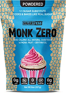 Monk Zero - Powdered Monk Fruit Sweetener, Non-Glycemic, Keto Approved, Zero Calories, 1:1 Confectioner Sugar Substitute (Powdered, 8oz)