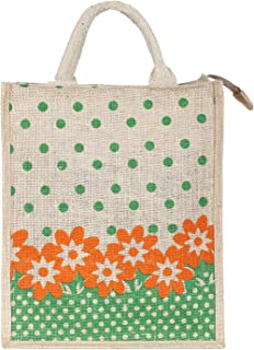 Heart Home Jute Lunch Carry Bag (Green)- CTHH21868
