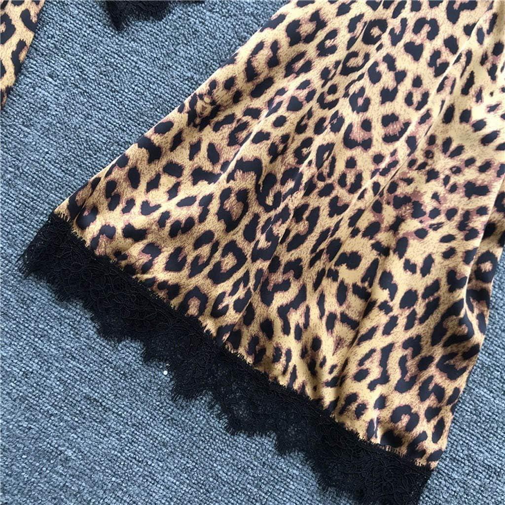 Leopard Print Sleepwear Set,Womens Fashion Lace Splicing Satin Pajamas Set Casual Loose Lingerie Set Nightwear
