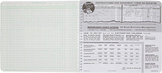 8-3/4X10 Lot of 4 Ekonomik DD Wirebound Form Dd Check Register W ...