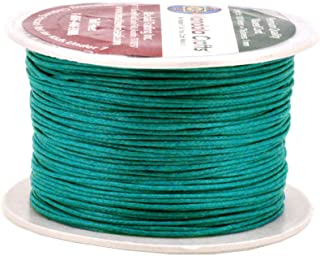 Mandala Crafts 1mm 109 Yards Jewelry Making Crafting Beading Macramé Waxed Cotton Cord Thread (Peacock Green)