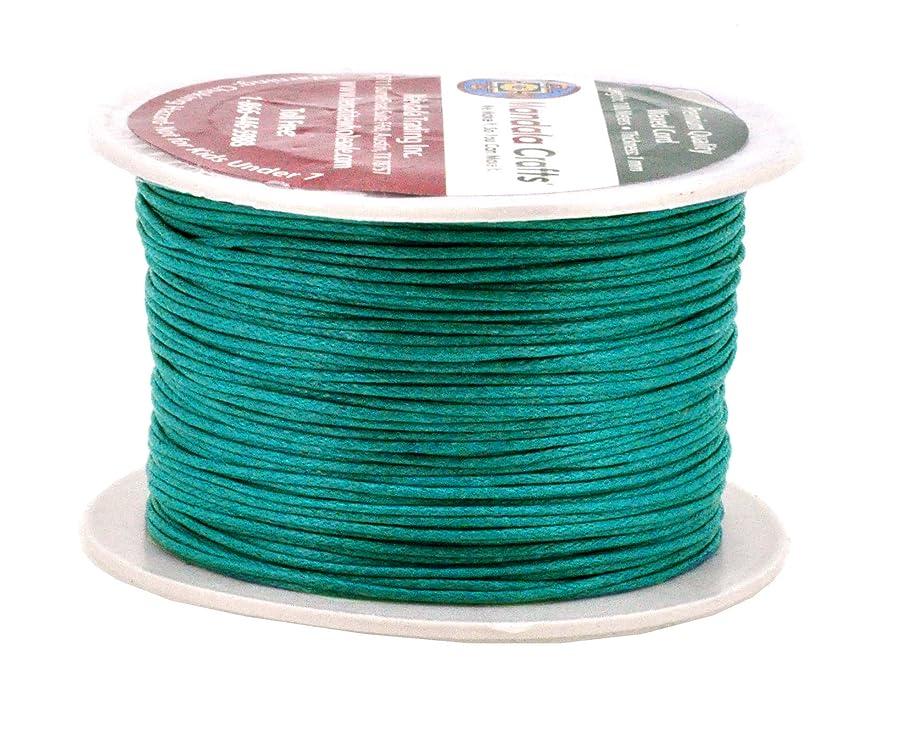 Mandala Crafts 1mm 109 Yards Jewelry Making Crafting Beading Macramé Waxed Cotton Cord Thread (Peacock Green)
