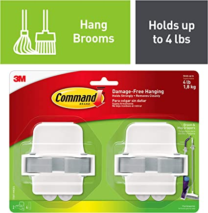 Command Broom & Mop Grippers, 2 grippers, 4 strips, Organize Damage-Free (17007-HW2ES)