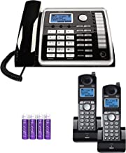 RCA 25260 2-Line Expandable Phone System - Full Duplex Telephone with Built-in Intercom Bundle with RCA 25055RE1 DECT 6.0 Cordless Accessory Handsets (2-Pack) and 4 Blucoil AA Batteries