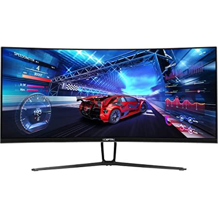 Sceptre 35 Inch Curved UltraWide 21: 9 LED Creative Monitor QHD 3440x1440 Frameless AMD Freesync HDMI DisplayPort Up to 100Hz, Machine Black 2020 (C355W-3440UN)