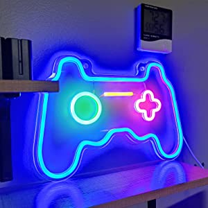 SOLIDEE Led Dimmable Neon Signs Wall Decorations for Living Room Bedroom Gamepad Controller Shape Neon Sign Lights Game Room Decor Accessories Cool Teen Boys Girls Kids Gamer Gifts