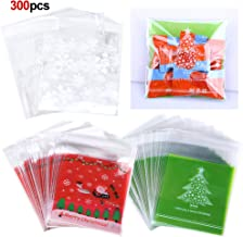 Konsait 300Count Christmas Cookie Candy Treat Bags Self-adhesive Sweets Biscuit Dessert Bags Plastic Bags Packaging Xmas Santa Snowflake Cellophane Gift Goody Bags for Christmas Party Favors Supplies