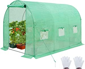 EAGLE PEAK 10 x 7 x 7 FT Large Walk-in Greenhouse Tunnel Garden Plant House w/ Roll-up Zippered Entry Door and 6 Roll-up Side Windows, Green