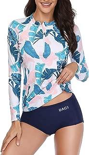 Daci Women Rash Guard Long Sleeve Zipper Bathing Suit with Built in Bra UPF 50