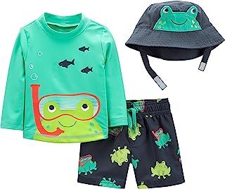 Boys' Baby 3-Piece Rashguard, Trunk, and Hat Set