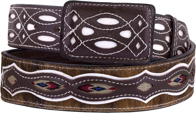 Max 48% OFF El Presidente - Mens Brown Western Cow Design Cowboy R Same day shipping Belt Hair