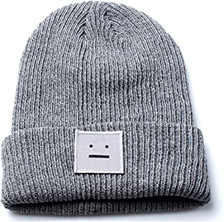 Accessoryo Unisex Grey Beanie Hat with Embroidered Smiley Face Design
