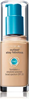 COVERGIRL Outlast All-Day Stay Fabulous 3-in-1 Foundation, 1 Bottle (1 oz), Creamy Natural Tone, Liquid Matte Foundation &...