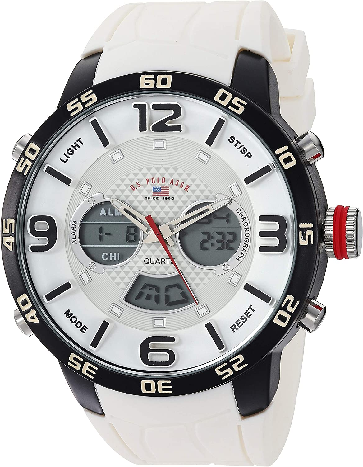 2021 spring and summer new U.S. Max 69% OFF Polo Assn. Men's Analog-Quartz with Watch Whi Rubber Strap
