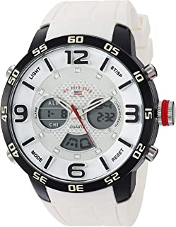 U.S. Polo Assn. Men's Analog-Quartz Watch with Rubber Strap, White, 24 (Model: US9542)