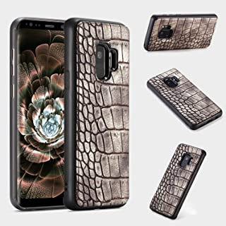 Protective Case Compatible with Samsung Galaxy S9 Case, Premium PU Leather [Crocodile Pattern] PC+TPU Anti-Scratch Shock Absorption Case Compatible Samsung Galaxy S9 Phone case (Color : Brown)