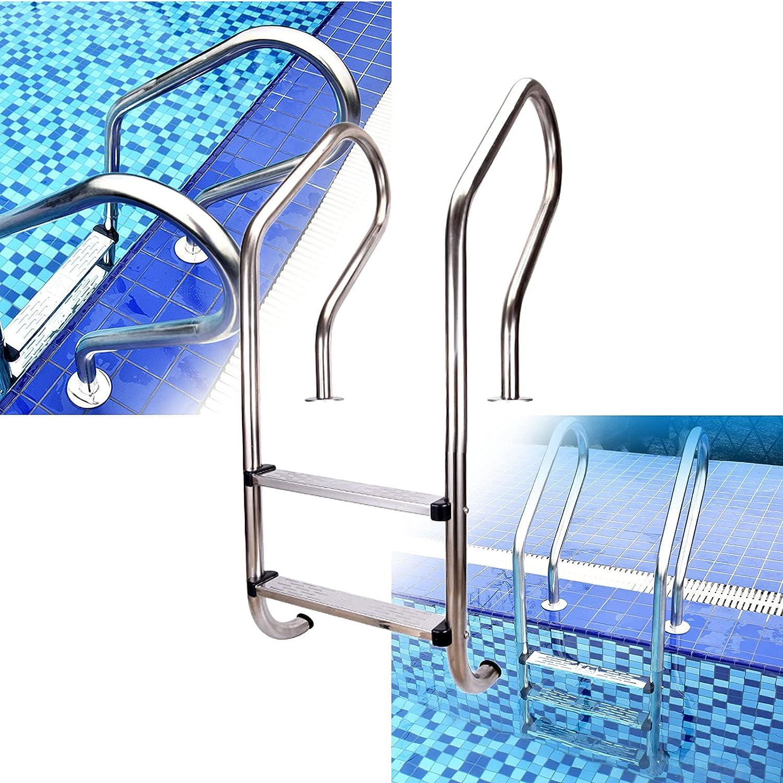 PINFU Escalera para Piscina 2 escalones Acero Inoxidable Antideslizante Muelle de natación Escaleras Sistema de Entrada y Salida para Piscinas enterradas Capacidad de Peso 440 Libras