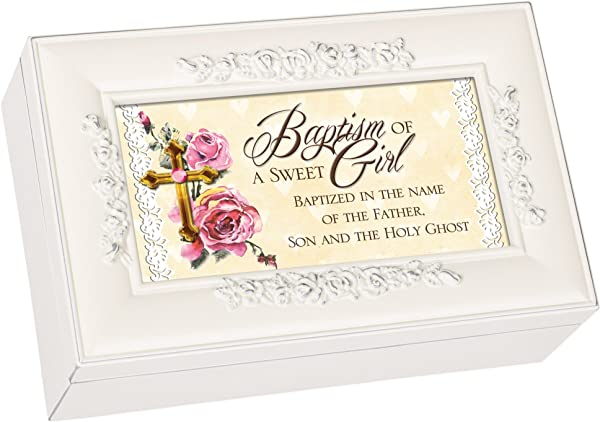 Cottage Garden Baptism Of A Sweet Girl Matte Ivory Jewelry Music Box Plays Jesus Loves Me