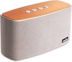 COMISO NatureAudio 30W Bluetooth Speakers, Loud Bamboo Wood Home Audio Wireless Speaker Super Bass Stereo Sound, 66 ft Bluetooth Range, Built-in Mic Home, Outdoors Party Subwoofer (Grey)