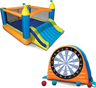 BANZAI Sports Stick Darts Sports Set and Slide 'N Bounce Clubhouse Combo Park