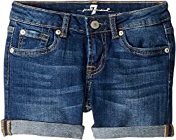 Roll Cuff Stretch Denim Shorts in Saguaro (Big Kids)