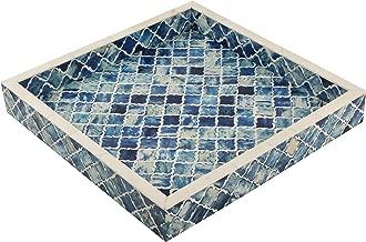 Handicrafts Home Decorative Tray Inspired Vintage Moorish Damask Moroccan Art Handmade Naturals Bone Inlay Quatrefoil Designer All Purpose Serving Tray from (Blue & White)