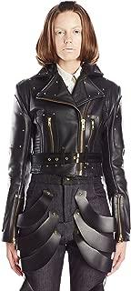 Viktor Luna Women's Moto Stud Leather Jacket with Rivets