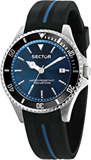 Men's 230 Stainless Steel Analog-Quartz Silicone Strap, Black, 18 Casual Watch (Model: R3251161037)
