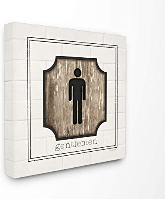 Stupell Industries The Stupell Home Decor Simple White and Distressed Wood Look Gentlemen Bathroom Sign, 17 x 17, Proudly Made in USA - Multi-Color 17