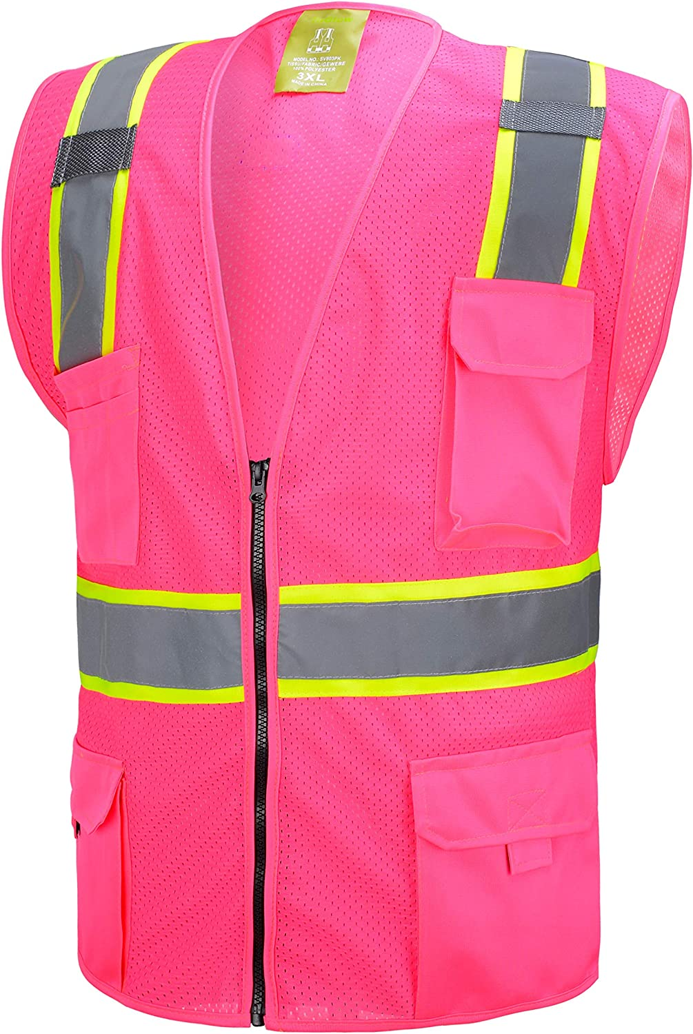 Pink New item Two Tones Safety Tool Vest Direct stock discount Multi-Pocket With