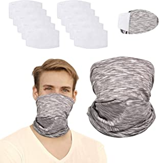 12Pcs Face Cover Bandanas for Dust Multi-purpose Washable Neck Gaiter with Filters for Men and Women Outdoors Cycling Sports