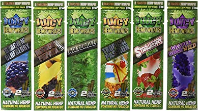 12 Total Natural Juicy Jays Hemp Wraps Variety Pack Bundle Mixed Flavors (6 Packs of 2) Made of Pure Hemp Non Tobacco + Limited Beamer Smoke Sticker Producers of Juicy Jays Rolling Papers