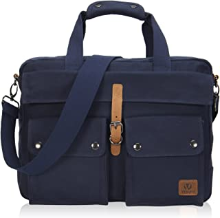 Veegul Multifunctional Canvas Laptop Bag 15.6 inch Navy Blue