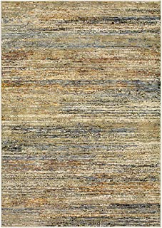 """Moretti Hadron Area Rug 8037J Gold Striped Banded 5' 3"""" x 7' 3"""" Rectangle"""